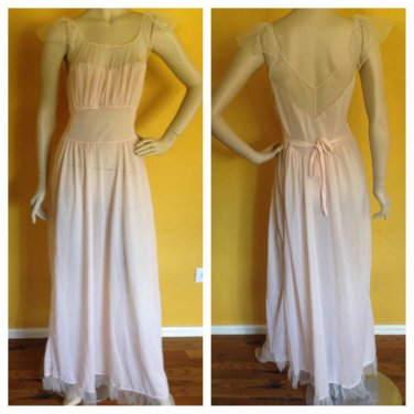 vtg Saab Lingerie Silky Very Sheer Nylon Baby Pink Chiffon Trim Maxi Gown 34