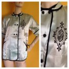 Vtg 50s Light Blue Silk Pajama Top Quilted Cuffs Peter Pan Collar 34/S