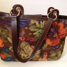 Maxx Silky Floral Fabric Handbag Purse Vibrant Orange Blue Green Tropical Print