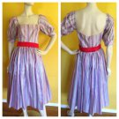 vtg 70s 80s Satin Stripe 50s Style Circle Dress Puff Sleeves Crinoline S Party