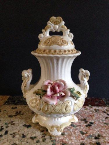 vtg Italian Capodimonte Double Handle Lidded Urn Floral Roses Vase Centerpiece
