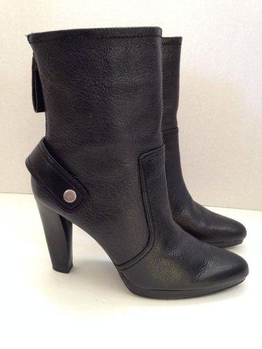 Simply Vera Wang Nightshade Black Textured Leather High Heel Boots 8 EUC