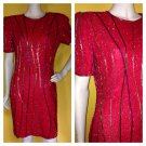 Vtg 80s Laurence Kazar Red Silk Beaded Cocktail Evening Occasion Dress S