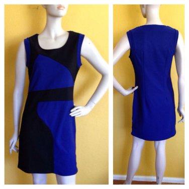 By Deep Los Angeles Blue Black Colorblock Bodycon Stretch Dress L