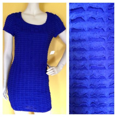 Forever 21 Stretch Tier Ruffle Royal Blue Bodycon Cocktail Occasion Dress M NWT