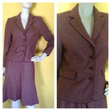 Amanda Smith Petite Tweed Style Rayon Blend Skirt Suit Reddish Brown 6P