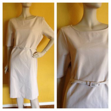 NWT Talbots Beige Short Sleeve Heavy Knit Belted Career Dress 18 Stretch