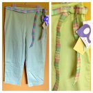 NWT QVC Light Green Stretch Cotton Spring Summer Pants Casual 14 Larkspur