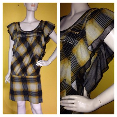 Fun Soft Knit Yellow/brown Plaid Drop Waist Angel Flutter Dolman Sleeve Dress M