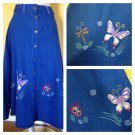 Vtg 80s Long Denim Jean Skirt Button Front Butterfly Ladybug Dragonfly Design S