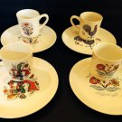 Vtg JB Berggren 8 Pc Snack Set  Luncheon Plates Cups/mugs Scandenavian Folk Art