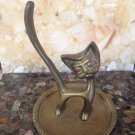 vtg 60s Brass Pussy Cat Kitty Ring Jewelry Holder Cartoon Modernist Figural Tray