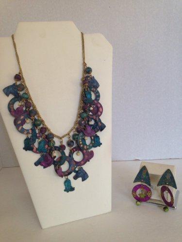 vtg 80s MSH Signed Western Stamped Metal Dangle Charm Necklace Earrings Set