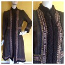 vtg 70s Boho Princess Suede Ethnic Faux Persian Lamb Trim Coat Espresso XS/S