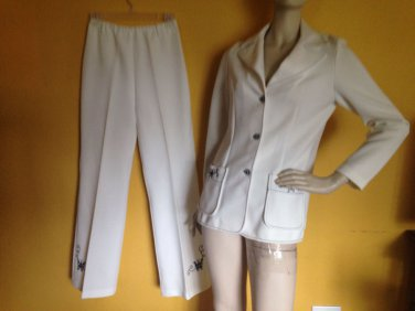 vtg 70s White Polyester Butterfly Embroidery Leisure Disco Pant Suit Blazer S/M