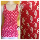 vtg 70s Seahorse Soft Knit Red & White Tank Top Shirt S/M Seapunk Boho