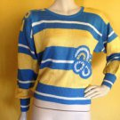 vtg 70s/80s Neiman Marcus Striped Sweater Yellow Blue White Crochet Embellished