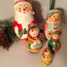 Kurt S Adler Hand Crafted Painted Wood Nesting Santa Mrs Claus Elves w/Box