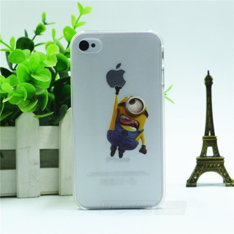 Case For Apple iPhone 5 5S case Transparent Hand simpsons minions eating homer skin
