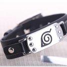 New anime black PU bangle/bracelet watch style w/ Naruto metal leaf/Konoha mark!