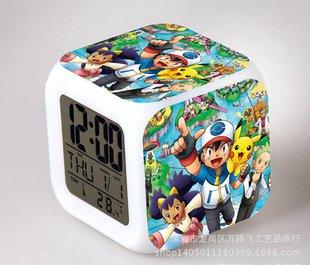 Japanese Anime POKEMON Color Change Glowing Digital Alarm Clock