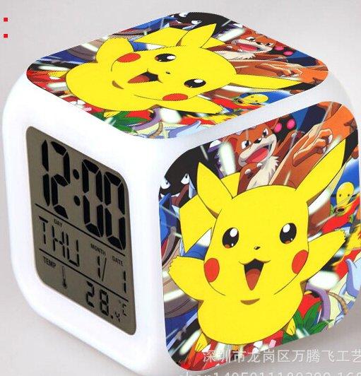 Japanese Anime POKEMON Pikachu Color Change Glowing Digital Alarm Clock