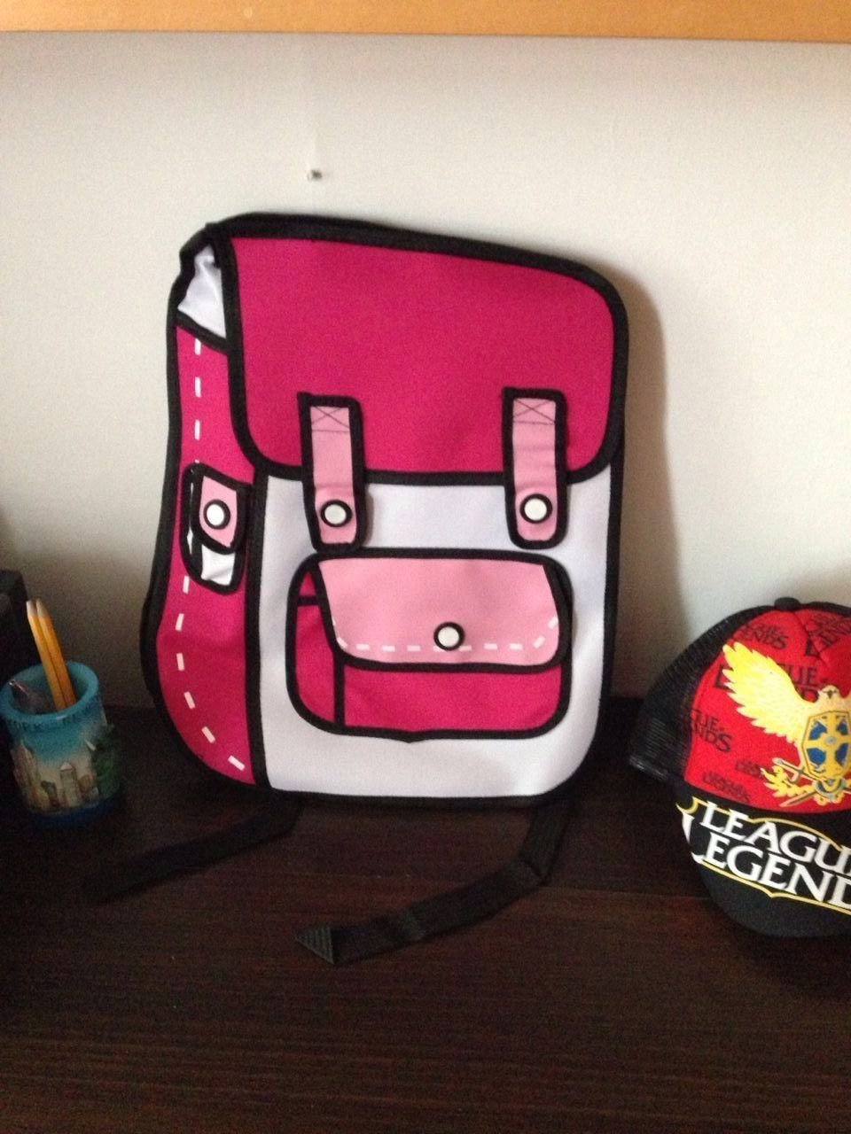 Hot3D Jump Style 2D Drawing From Cartoon Paper Bag Comic 3D Pink Messenger School bag