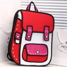 Hot3D Jump Style 2D Drawing From Cartoon Paper Bag Comic 3D Red Messenger School bag