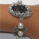 Goddess Face Frangipani Mabe Pearl Sterling Silver 925 Bracelet BC13 T7204