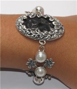 Goddess Face Frangipani Mabe Pearl Sterling Silver 925 Bracelet BC13 T7204