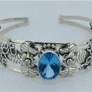 London Blue Topaz 925 Sterling Silver Bangle Bracelet Jewelry with Soul Bali
