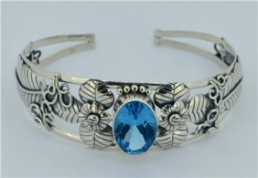 London Blue Topaz 925 Sterling Silver Bangle Bracelet Jewelry with Soul Bali