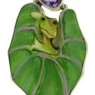 Size 9.5 Frog on Lotus Leaf Ring Amethyst 925 Sterling Silver RG27 EFBA438