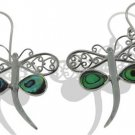 Dragonfly Motif Abalone Paua Shell Sterling Silver 925 Earrings EA179 L3326