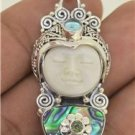 Moon Face Abalone Paua Shell Peridot Topaz 925 Sterling Silver Pendant T9387