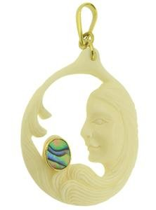 Ladies Abalone Paua Paua Brass Setting Pendant Jewelry with Soul PN727 EFBA435