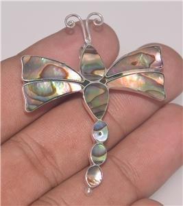 Dragonfly Abalone Paua 925 Sterling Silver Pin Pendant PN0699DragonflyKA EFBA444
