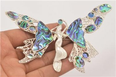Fairy Angel Abalone Paua Shell 925 Sterling Silver Pin Pendant PN413 EFBA425