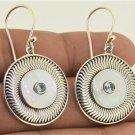 Blue Topaz Mother of Pearl Shell 925 Silver Hook Earrings Bali Jewelry L9356