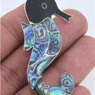 Sea Horse Abalone Paua 925 Sterling Silver Pendant Bali Jewelry PN91KA L7979