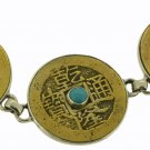 Free Ship Antique Brass Coin Turquoise 925 Sterling Silver Bracelet BC0603 T4571