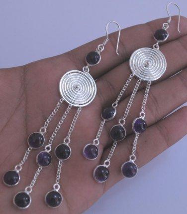 Amethyst Sterling Silver 925 Dangle Earrings L617