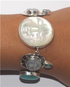 Moon Face Green Quartz  Amazonite Sterling Silver 925 Bracelet BC51 L9948