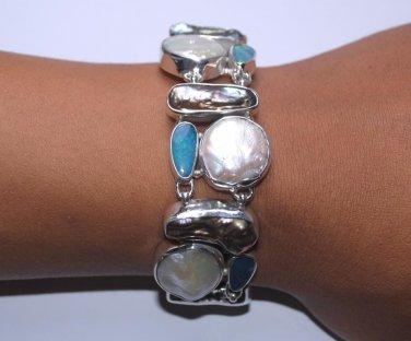 Biwa Pearl Opal Sterling Silver 925 Bracelet L2861