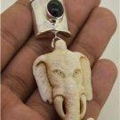 Elephant Face Black Onyx 925 Sterling Silver Pendant Bali Jewelry PN521 T8311