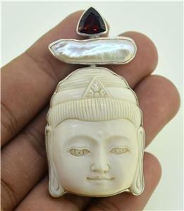 Buddha Face Garnet Biwa Pearl 925 Silver Brooch Jewelry with Soul PN70 EFBA365