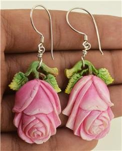 Hand Carved Rose Flower Natural Buffalo Bone Silver Hook Earrings EA355 EFBA
