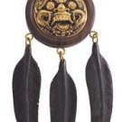 Lucky Barong Bali Mask Feathers Carved Black Buffalo Horn Brass Pendant EFBA