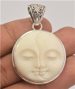 Loving Sun Moon Face 925 Sterling Silver Jewelry Charm Pendant PN11 EFBA