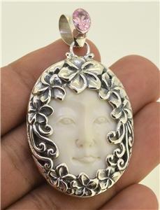 Beautiful ! Goddess Face Pink Zircon Frangipani 925 Sterling Silver Pendant EFBA